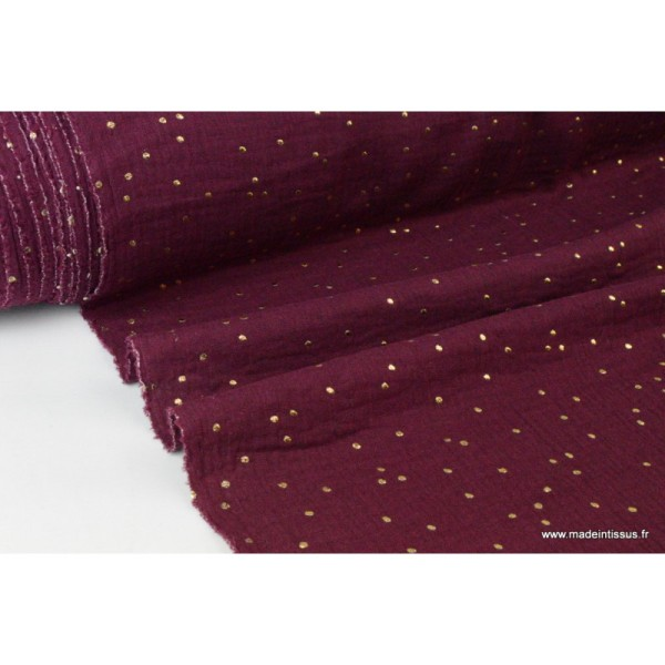 Tissu Double gaze coton Glitter à pois OR coloris PRUNE
