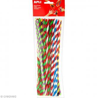 Fil chenille Multicolore rayé - 30 cm - 50 pcs