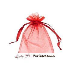 PAX 50 pochettes organza rouge MM ( 8 par 10cm ) pour bijoux, dragés....
