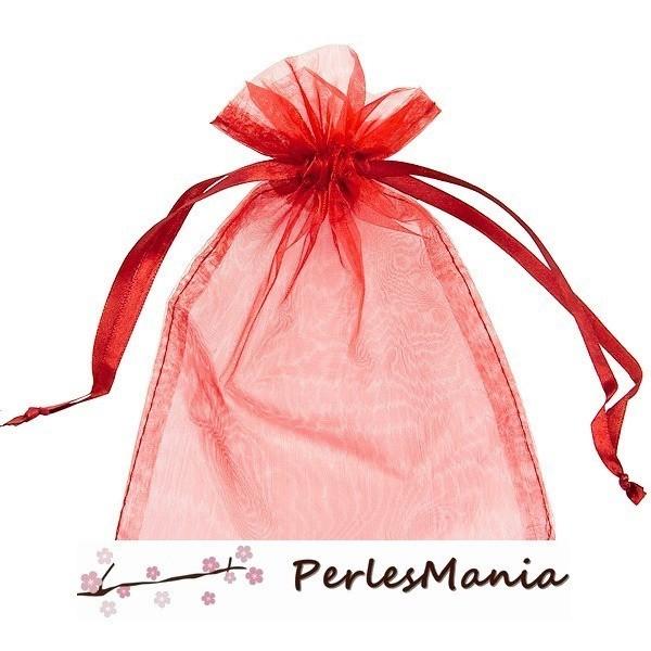 PAX 50 pochettes organza rouge MM ( 8 par 10cm ) pour bijoux, dragés.... - Photo n°1