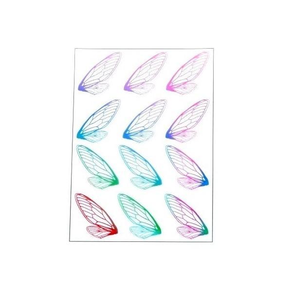 S11105879 PAX de 2 Planches imprimées d'ailes de papillons pour bijoux résine Multicolores - Photo n°1