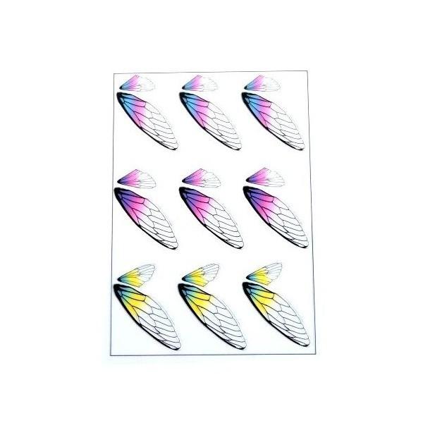 S11105877 PAX de 2 Planches imprimées d'ailes de papillons pour bijoux résine Multicolores - Photo n°1