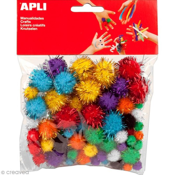 Pompons Multicolore brillant - 78 pcs - Photo n°1