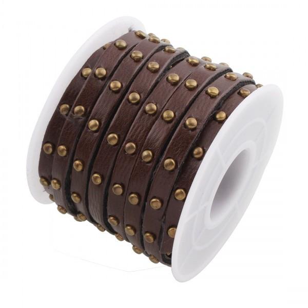 171228183509 Lot de 1m de cordon Simili Cuir clouté rivet bronze 5 par 3MM couleur 8 - Photo n°1
