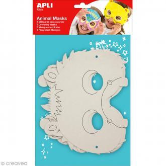 Masque à décorer en carton - Animaux - 6 pcs