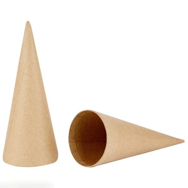 Cônes en papier mâché à décorer - 20 cm - 5 pcs - Photo n°2
