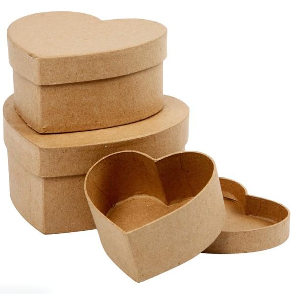 Assortiment de Boîtes gigognes coeur à couvercle - Kraft - 10 à 15 cm - 3 pcs - Photo n°1