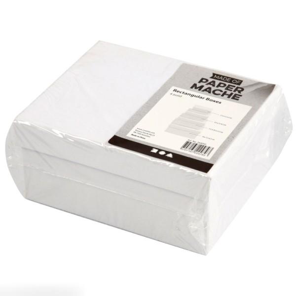 Assortiment de Boîtes gigognes rectangulaires à couvercle - Blanc - 5 x 7,5 à 11 x 14 cm - 4 pcs - Photo n°2