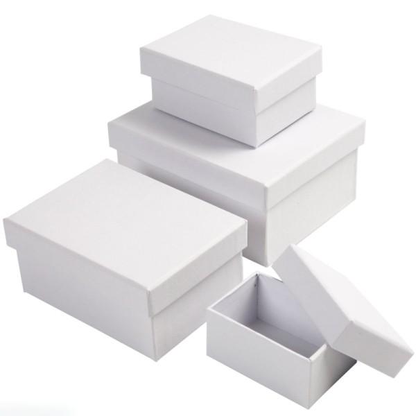 Assortiment de Boîtes gigognes rectangulaires à couvercle - Blanc - 5 x 7,5 à 11 x 14 cm - 4 pcs - Photo n°1