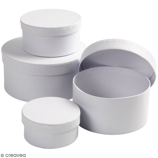 Assortiment de Boîtes gigognes rondes à couvercle - Blanc - 8 à 14 cm - 4 pcs - Photo n°1