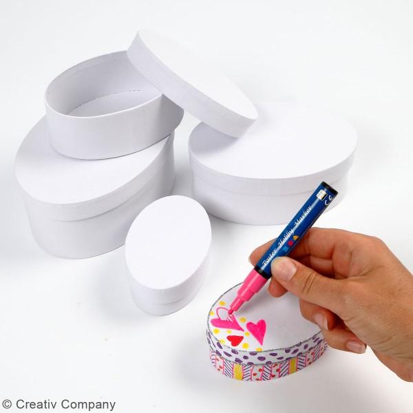Assortiment de Boîtes gigognes ovales à couvercle - Blanc - 10 à 16 cm - 4 pcs - Photo n°2