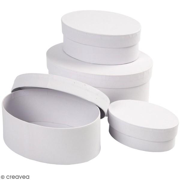 Assortiment de Boîtes gigognes ovales à couvercle - Blanc - 10 à 16 cm - 4 pcs - Photo n°1