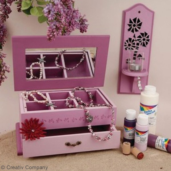Boîte à bijoux en bois - Miroir intégré - 27 x 17 x 12 cm - Photo n°2