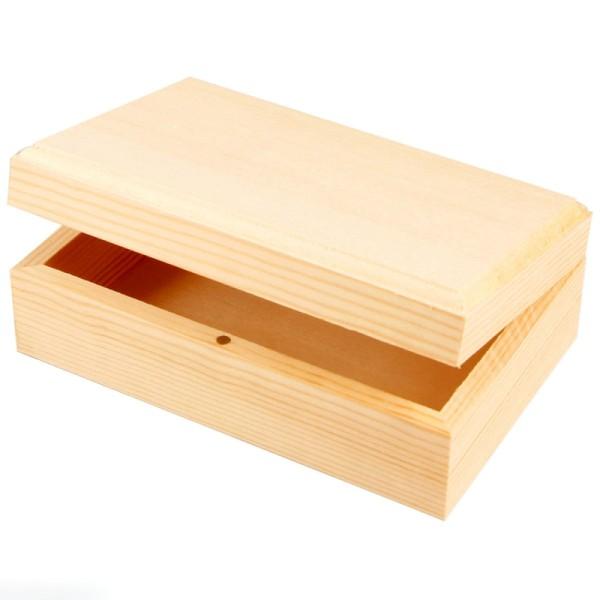 Boîte rectangulaire en bois à décorer - 12,5 x 7,5 x 3 cm - Photo n°1