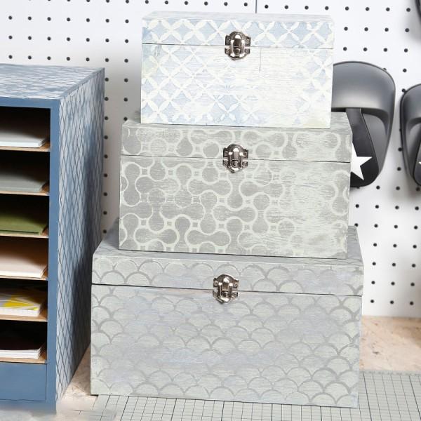 Set de boîtes en bois à décorer - 8 x 6 cm à 28 x 21 cm - 6 pcs - Photo n°2
