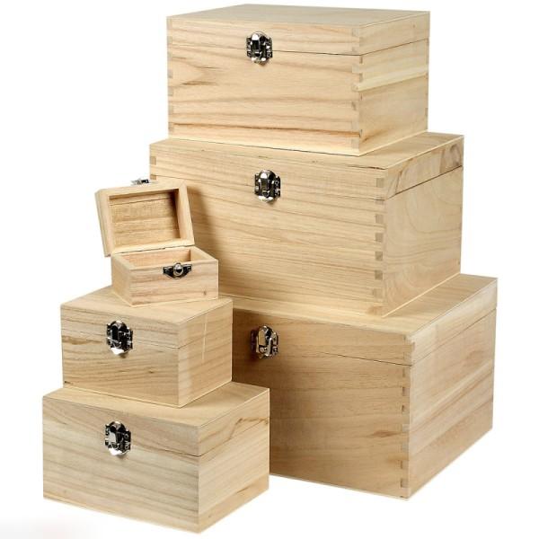 set de bo tes en bois d corer 8 x 6 cm 28 x 21 cm 6 pcs boite en bois d corer creavea. Black Bedroom Furniture Sets. Home Design Ideas
