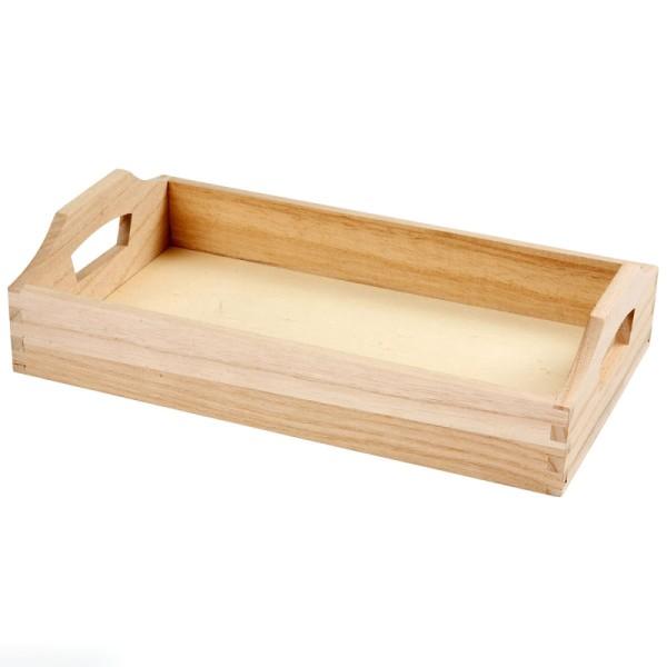 Petit plateau rectangulaire en bois à décorer - 30 x 17 x 5 cm - Photo n°1