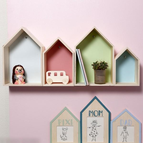 Etagères Maisons en bois à décorer - 20 à 31 cm - 3 pcs - Photo n°2