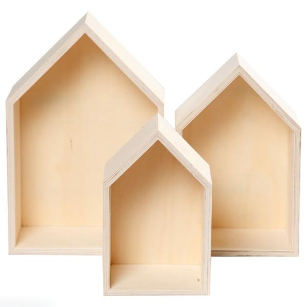 Etagères Maisons en bois à décorer - 20 à 31 cm - 3 pcs - Photo n°1