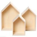 Etagères Maisons en bois à décorer - 20 à 31 cm - 3 pcs