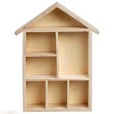 Maison à compartiments en bois à décorer - 22 x 30 x 3,5 cm - 1 pce