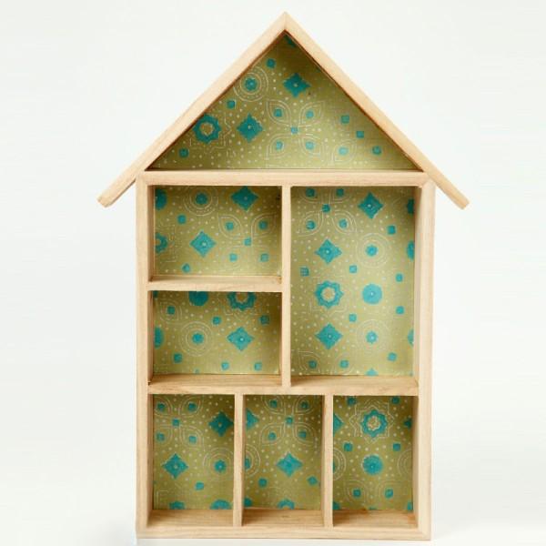 Maison à compartiments en bois à décorer - 22 x 30 x 3,5 cm - 1 pce - Photo n°2