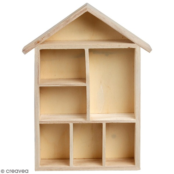 Maison à compartiments en bois à décorer - 22 x 30 x 3,5 cm - 1 pce - Photo n°1