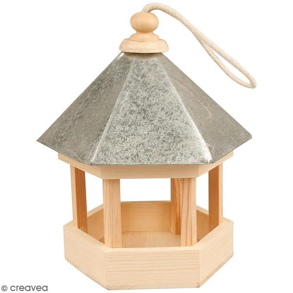 Mangeoire pour oiseaux en bois à décorer - 18 x 22 cm - Photo n°1
