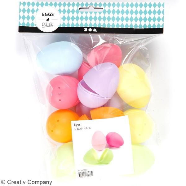 Oeuf de Pâques multicolores à décorer - 6 cm - 12 pcs - Photo n°3