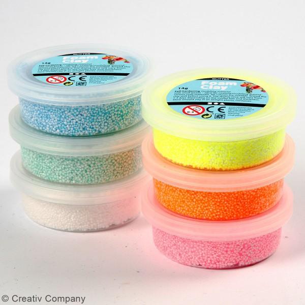 Assortiment Pâte à modeler autodurcissante Foam Clay -  Fluo Pailleté - 6 pcs - Photo n°3