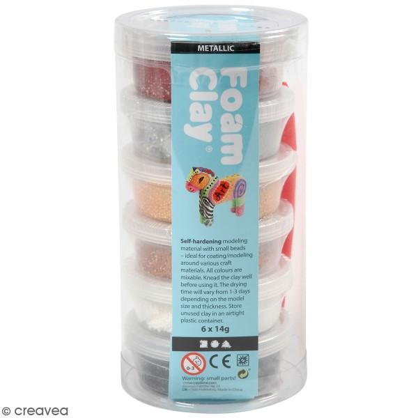 Assortiment Pâte à modeler autodurcissante Métallique Foam Clay - Multicolore - 6 pcs - Photo n°1