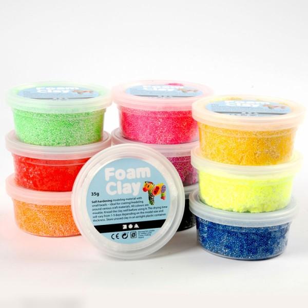 Kit Pâte à modeler Foam Clay - Fluo - 10 pcs - Photo n°3