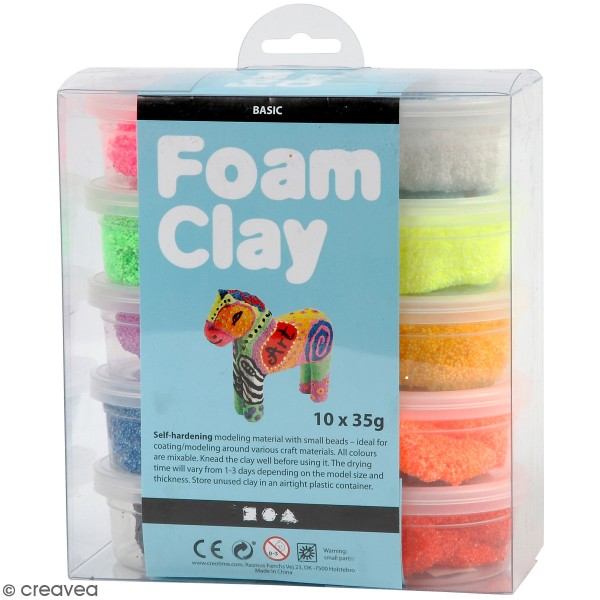 Kit Pâte à modeler Foam Clay - Fluo - 10 pcs - Photo n°1