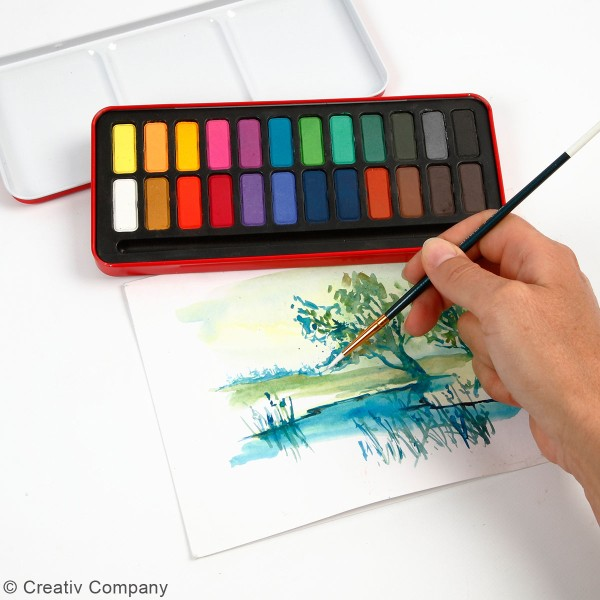 Boîte d'aquarelle avec pinceau - 24 couleurs - Photo n°3