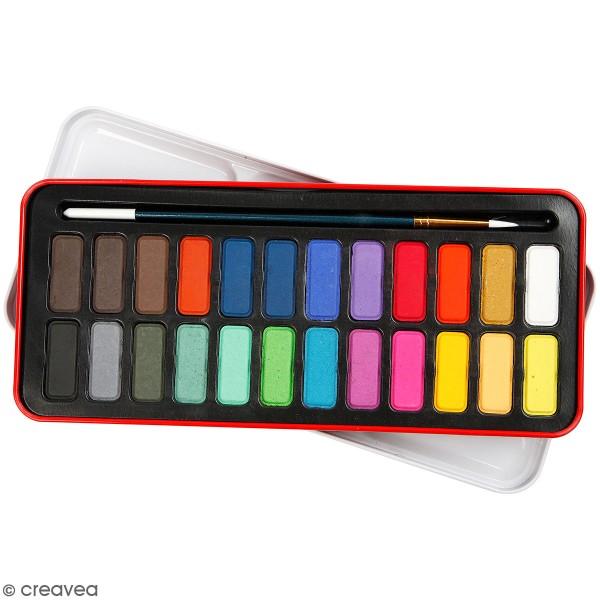 Boîte d'aquarelle avec pinceau - 24 couleurs - Photo n°1