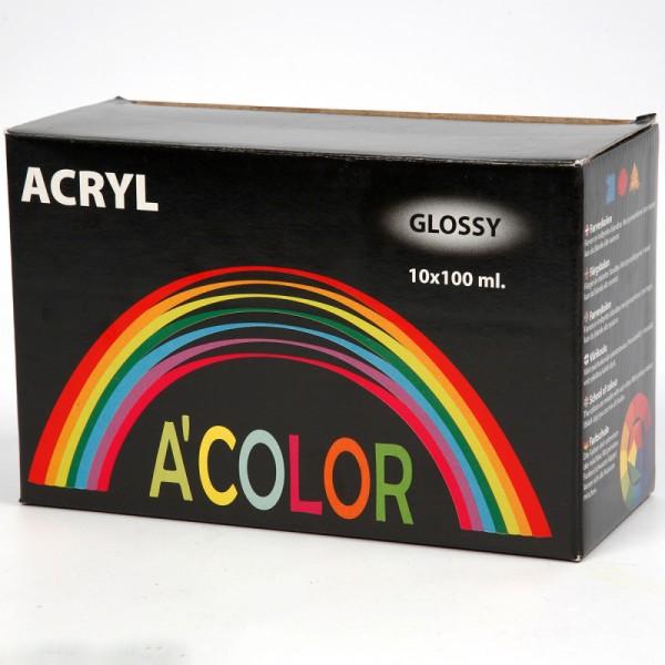 Assortiment de peinture acrylique brillante A-Color - 100 ml - 10 pcs - Photo n°3