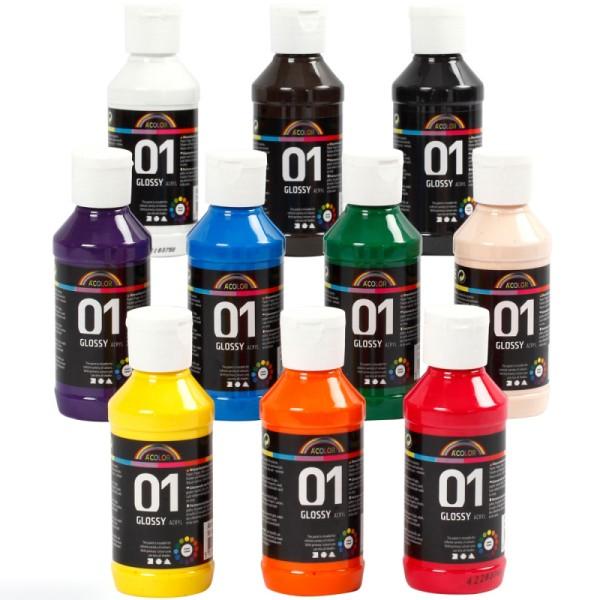 Assortiment de peinture acrylique brillante A-Color - 100 ml - 10 pcs - Photo n°1