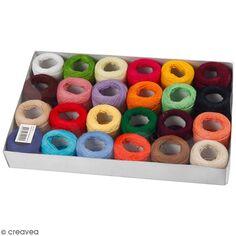 Assortiment de fil de coton mercerisé 20 gr - Multicolore - 24 pcs