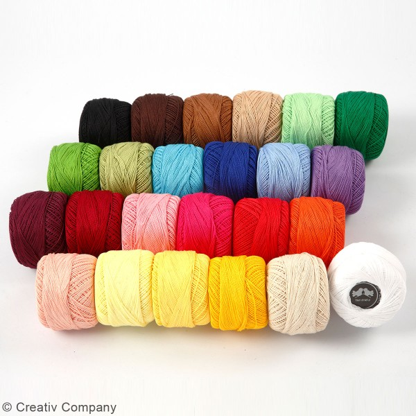 Assortiment de fil de coton mercerisé 20 gr - Multicolore - 24 pcs - Photo n°4