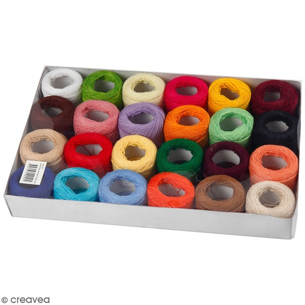 Assortiment de fil de coton mercerisé 20 gr - Multicolore - 24 pcs - Photo n°1