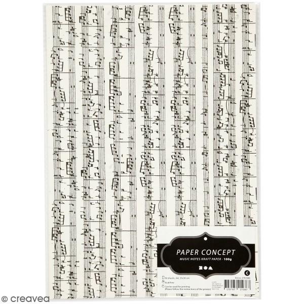 Papier kraft imprimé - Partition de musique - 10 feuilles - Photo n°1