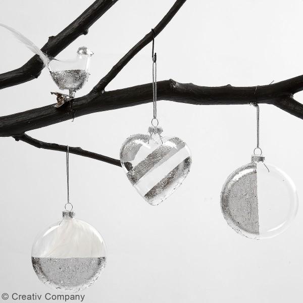 Boules de Noël aplaties en verre - 8 cm - 6 pcs - Photo n°2