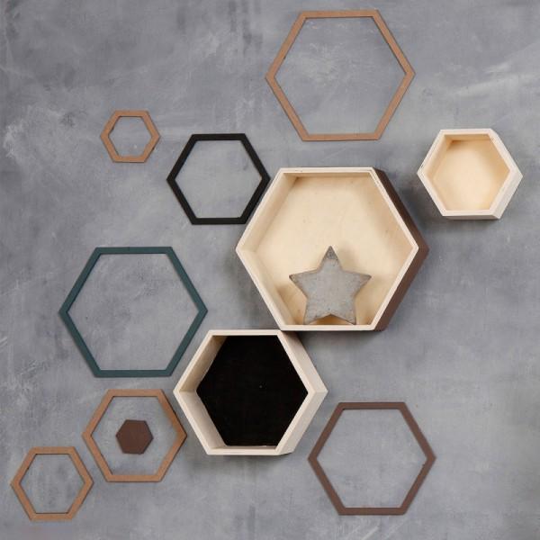 Etagères hexagonales en bois à décorer - 15 à 24 cm - 3 pcs - Photo n°2