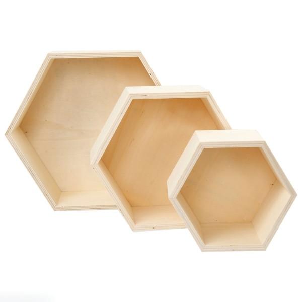 Etagères hexagonales en bois à décorer - 15 à 24 cm - 3 pcs - Photo n°1