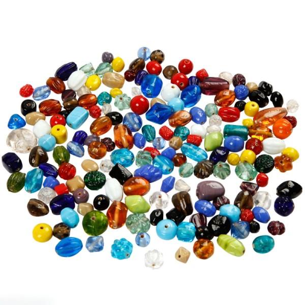 Assortiment de perles en verre - Multicolore - Environ 600 pcs - Photo n°1