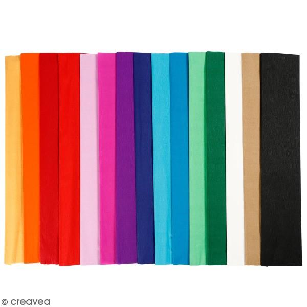 Assortiment de papier crépon - 50 cm x 2,5 m - 15 feuilles - Photo n°1