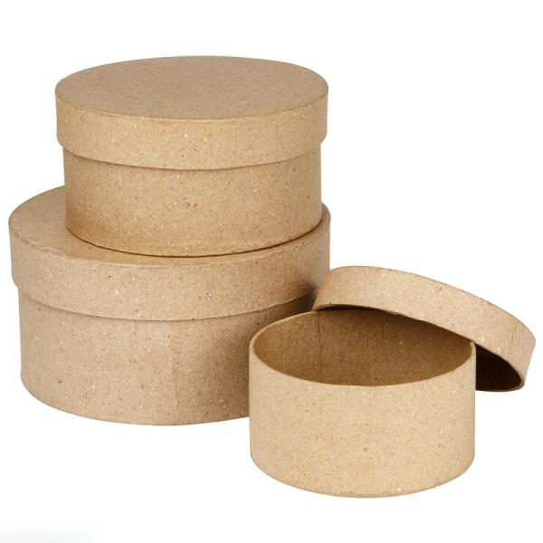 Assortiment de Boîtes gigognes rondes à couvercle - Kraft - 10 à 16 cm - 3 pcs - Photo n°1
