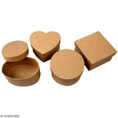 Assortiment de Boîtes à couvercle - Kraft - 10 à 12 cm - 4 pcs