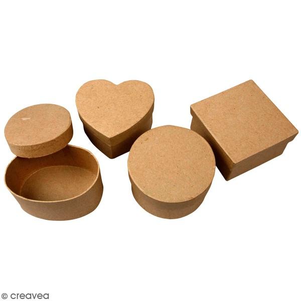 Assortiment de Boîtes à couvercle - Kraft - 10 à 12 cm - 4 pcs - Photo n°1