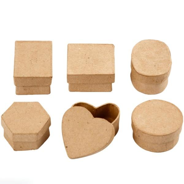 Assortiment mini boites papier mâché - 6 pcs - Photo n°1